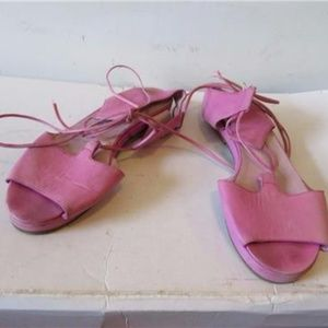 MISS MAUD PINK LEATHER ANKLE LACED SANDALS SIZE 38